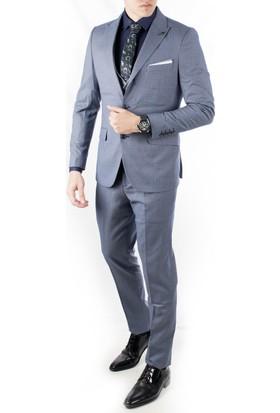 4487b448f9521 ... Deepsea İndigo Mavi Ceket Ve Yeleği Desenli 3'Lü Erkek Takım Elbise  1910953 ...