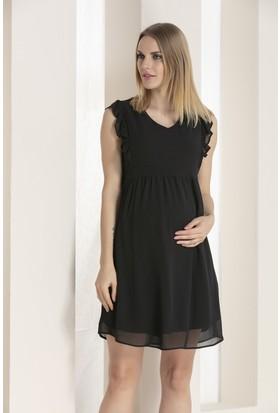 9698cd0c38d81 Gör&Sin Kolları Fırfır Detaylı Hamile Şifon Elbise Siyah ...