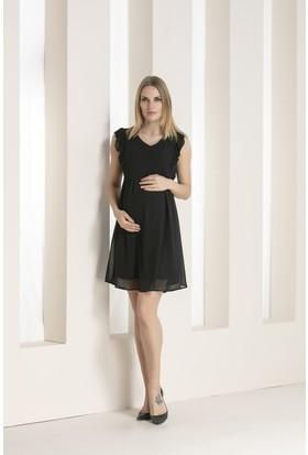 c51bf4d974274 ... Gör&Sin Kolları Fırfır Detaylı Hamile Şifon Elbise Siyah ...