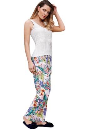 Anıl 9529 Kadın Pamuklu Çiçekli Askılı Pantolon 2'li Takım