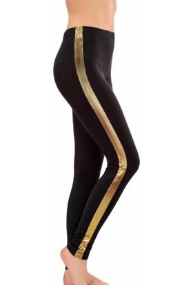 Lady Lingerie Siyah Yanı Altın Şeritli Tayt 8111