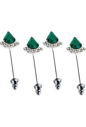 Fsg Takı Gümüş Kaplama Zümrüt Yeşili Eşarp ve Şal İğnesi
