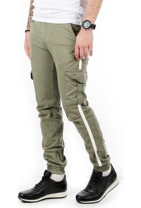 6ab80e3d35f8a Deepsea Açık Yeşil Yanları Şerit Paça Bel Lastikli Erkek Kargo Pantolon  1901584 ...