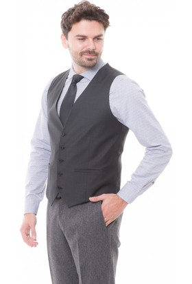 aad98f9fc59f7 ... Çift Geyik Karaca Toss Erkek Slim Fit 6 Drop Klasik Yelek Marengo ...
