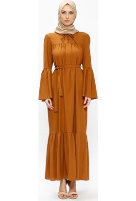 Volan Detaylı Elbise - Taba - Miss Paye