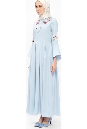 Nakışlı Elbise - Mavi - Bürün