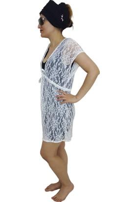 Pembe Deniz Krem Simli Kadın Pareo Elbise