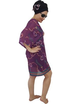 Pembe Deniz Zincir Desenli Kimono Kadın Pareo