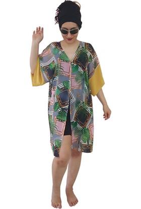 Pembe Deniz Yaprak Desenli Kimono Kadın Pareo