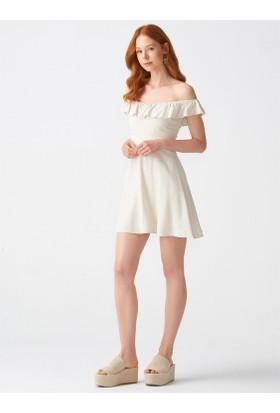 b3d935b10a753 ... Dilvin 9034 Sırtı Gipeli Yaka Fırfırlı Elbise-Natural ...