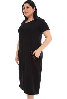 NBB Kadın Etnik Cepli Büyük Beden Elbise