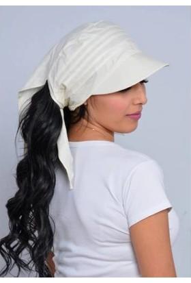 Külah Bağlamalı Eşarp Siperli Beyaz Bandana Şapka
