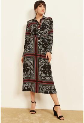 c471b08669736 Lafaba Kadın Siyah Desenli Gömlek Elbise Lafaba Kadın Siyah Desenli Gömlek  Elbise ...