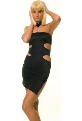My Passion Yan Dekolteli Taşlı Mini Elbise