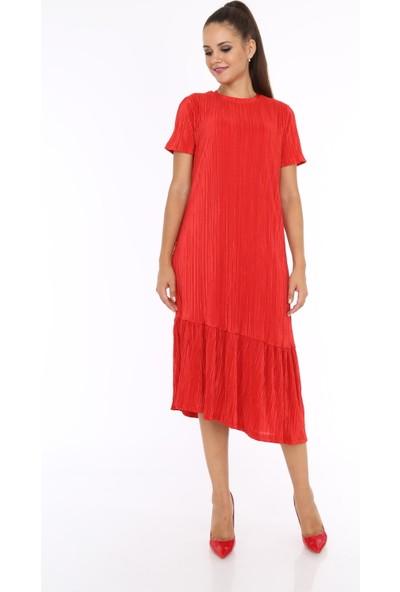 Her Mod'a Bir Moda Akordeon Kumaş Asimetrik Kesim Elbise