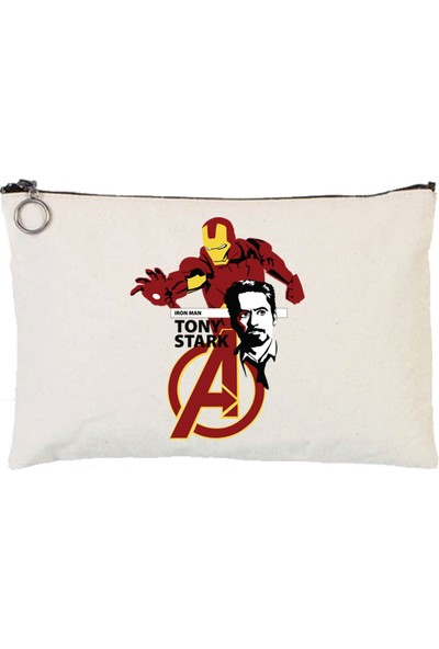 Art T-Shirt Avengers Iron Man Tony Stark Tablet Ve Makyaj Çantası