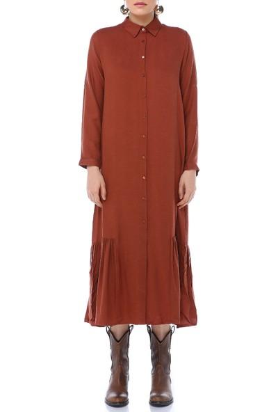 Cream&Rouge 17Y317 Elbise Yün Viskon Alt Fırfırlı