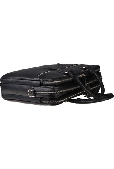 Guard Çok Bölmeli Siyah Deri Laptop ve Evrak Çantası