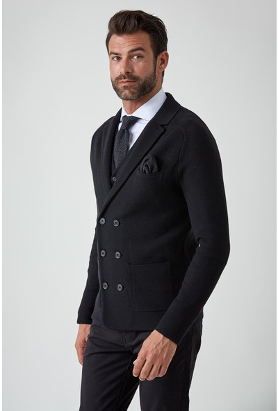 Hemington Extrafine Merino Siyah Kruvaze Business Triko Ceket