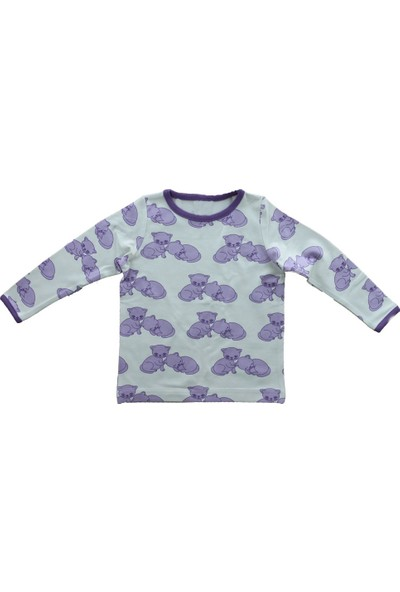 Uygun Bebe Mor Kedi Kız Bebek Sweatshirt