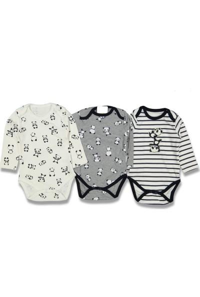 Neci̇xs Baby Erkek Bebek Çizgili Panda 3 Lü Badi