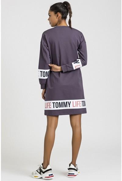 Tommy Life Baskılı Mor Kadın Spor Elbise
