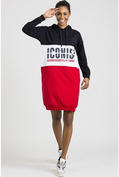Tommy Life Iconist Baskılı Lacivert-Kırmızı Kadın Spor Elbise