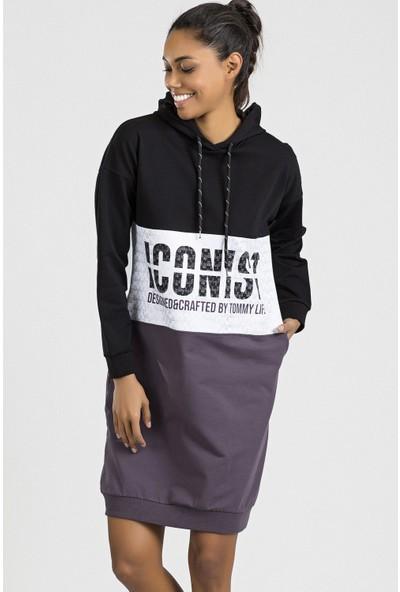 Tommy Life Iconist Baskılı Siyah-Mor Melanj Spor Elbise