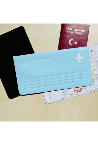 Solaress Happy Travel Pvc Deri Telefon Cüzdanı El ÇantasıMavi