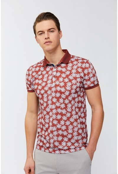 Avva Erkek Kiremit Polo Yaka Baskılı T-Shirt A91Y1021