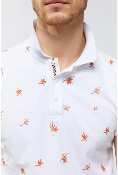 Avva Erkek Beyaz Polo Yaka Baskılı T-Shirt A91Y1067