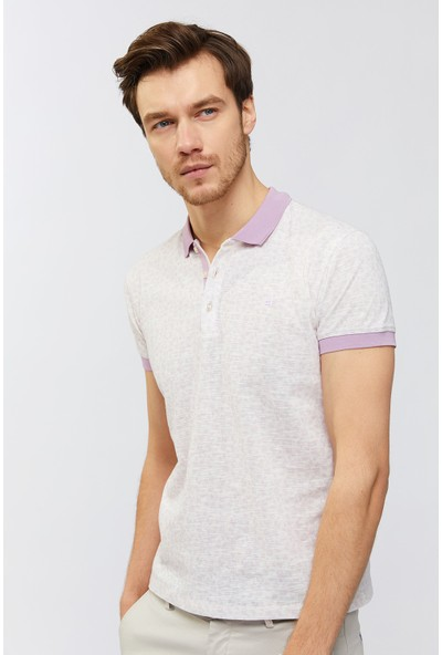 Avva Erkek Lila Polo Yaka Baskılı T-Shirt A91Y1109