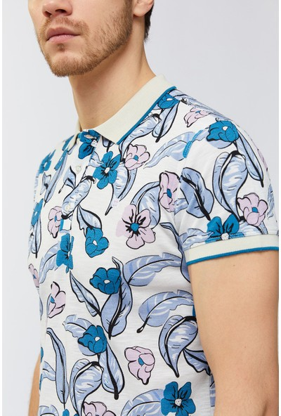 Avva Erkek Mavi Polo Yaka Baskılı T-Shirt A91Y1110