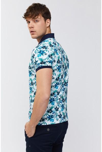 Avva Erkek Mavi Polo Yaka Baskılı T-Shirt A91Y1118