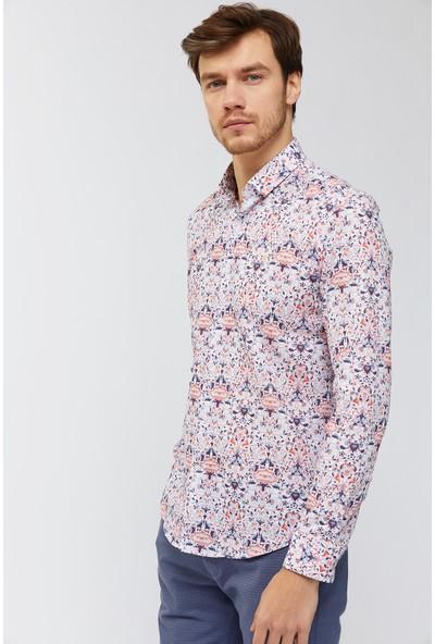 Avva Erkek Turuncu Baskılı Alttan Britli Yaka Regular Fit Gömlek A91Y2079