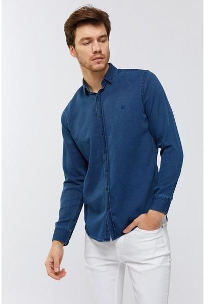 AVVA Lacivert Erkek Uzun Kol Düz Klasik Yaka Slim Fit Gömlek A91Y2106