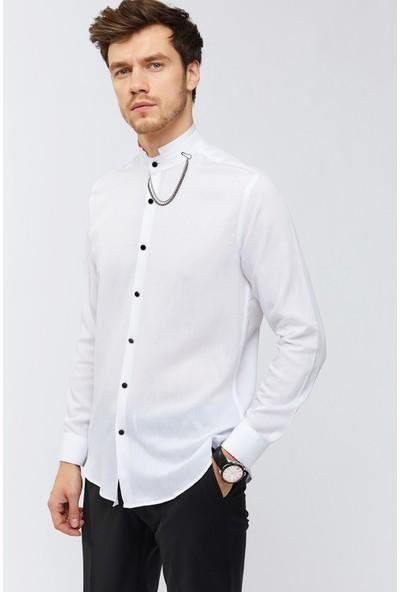 AVVA Beyaz Erkek Uzun Kol Düz Hakim Yaka Slim Fit Gömlek A91Y2109