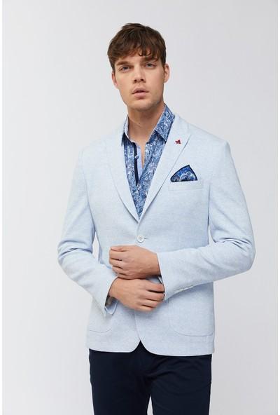 Avva Erkek Mavi Kırlangıç Yaka Melanjlı Slim Fit Torba Cepli Ceket A91Y4025