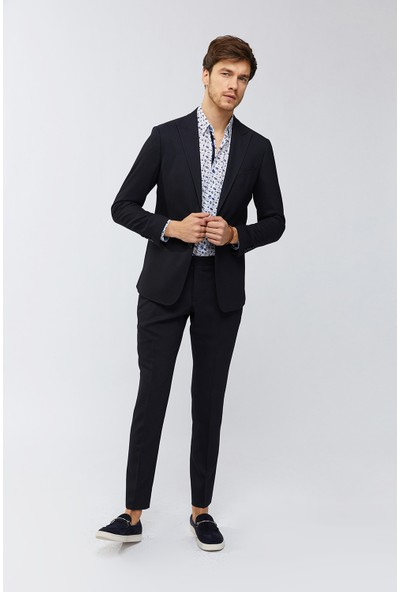 AVVA Lacivert Erkek Kırlangıç Yaka Armürlü Takım Elbise A91Y7700