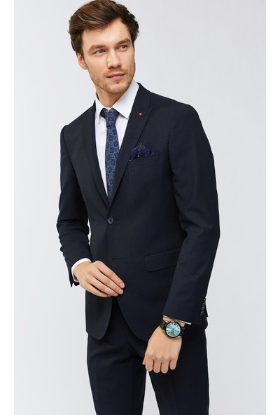 AVVA Lacivert Erkek Kırlangıç Yaka Armürlü Takım Elbise A91Y7704