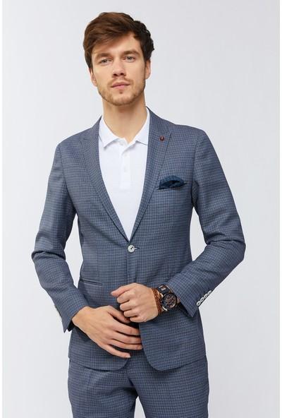 AVVA Mavi Erkek Kurt Ağzı Yaka Armürlü Takım Elbise A91Y7709