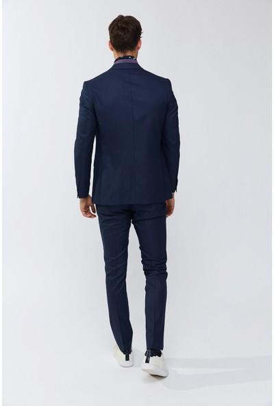 AVVA Lacivert Erkek Kırlangıç Yaka Armürlü Takım Elbise A91Y7721