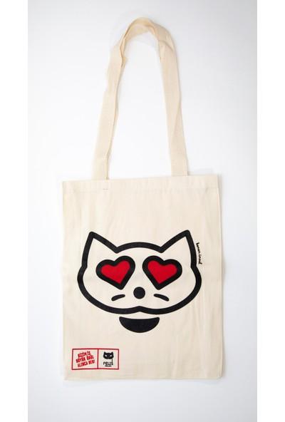 MediaCat Kenan Ünsal Tasarımı Kedi Figürü İşlemeli Bez Çanta