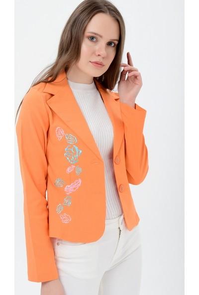 Maldia Gül Nakışlı Turuncu Kadın Ceket