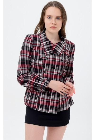 Maldia Kadın Ceket Bordo Çizgili