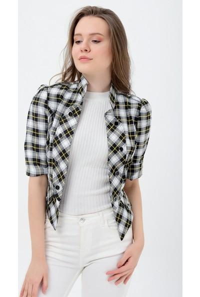Maldia Beyaz Siyah Cizgili Kadın Ceket