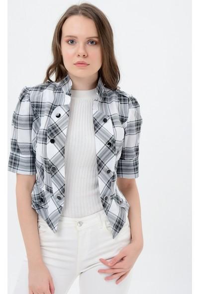 Maldia Gri Kareli Siyah Düğmeli Kadın Ceket
