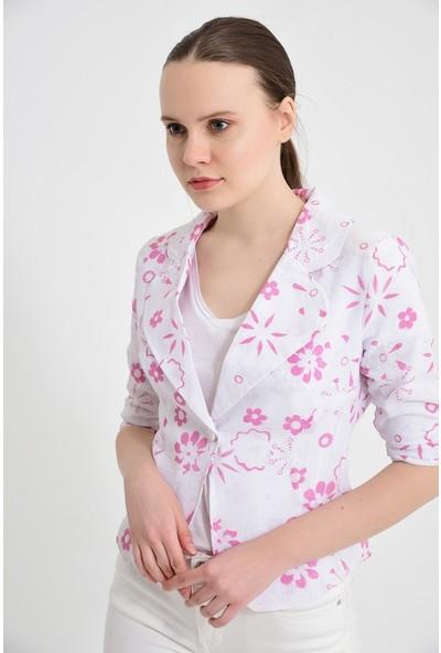 Maldia Pembe Çiçek Desen Kadın Ceket