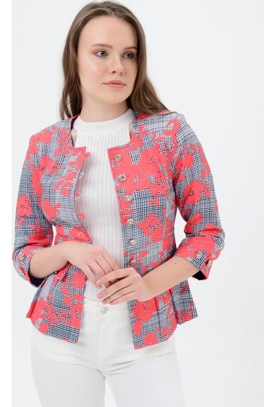 Maldia Gri Desen Kırmızı Çiçekli Ceket