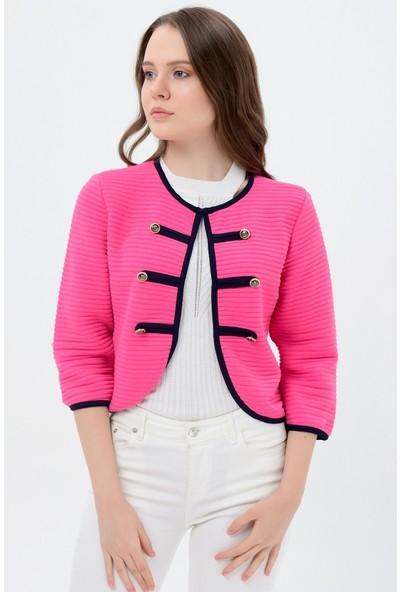 Maldia Lacivert Şeritli Pembe Kadın Ceket